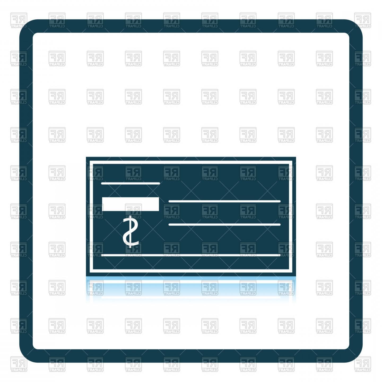 Shadow Reflection Design Of Bank Check Icon Vector Clipart.