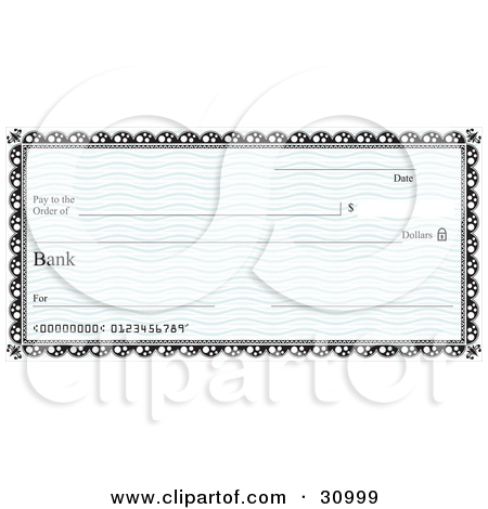 Clipart Illustration of a Blank Bank Cheque With Blue Waves And A.