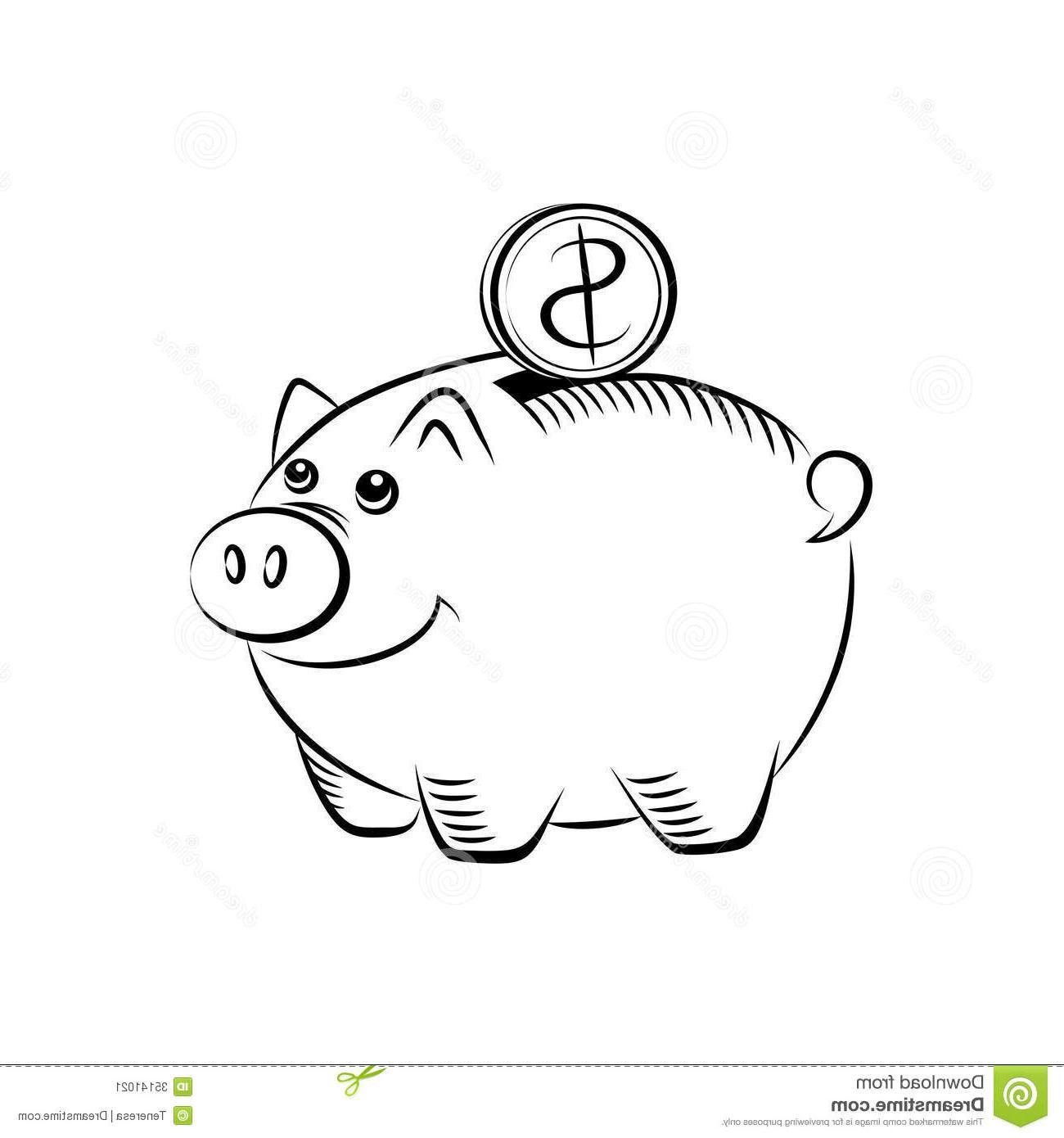 Unique Black And White Piggy Bank Vector Design » Free Vector Art.