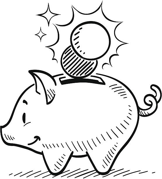 Best Black And White Cartoon Piggy Bank Illustrations, Royalty.