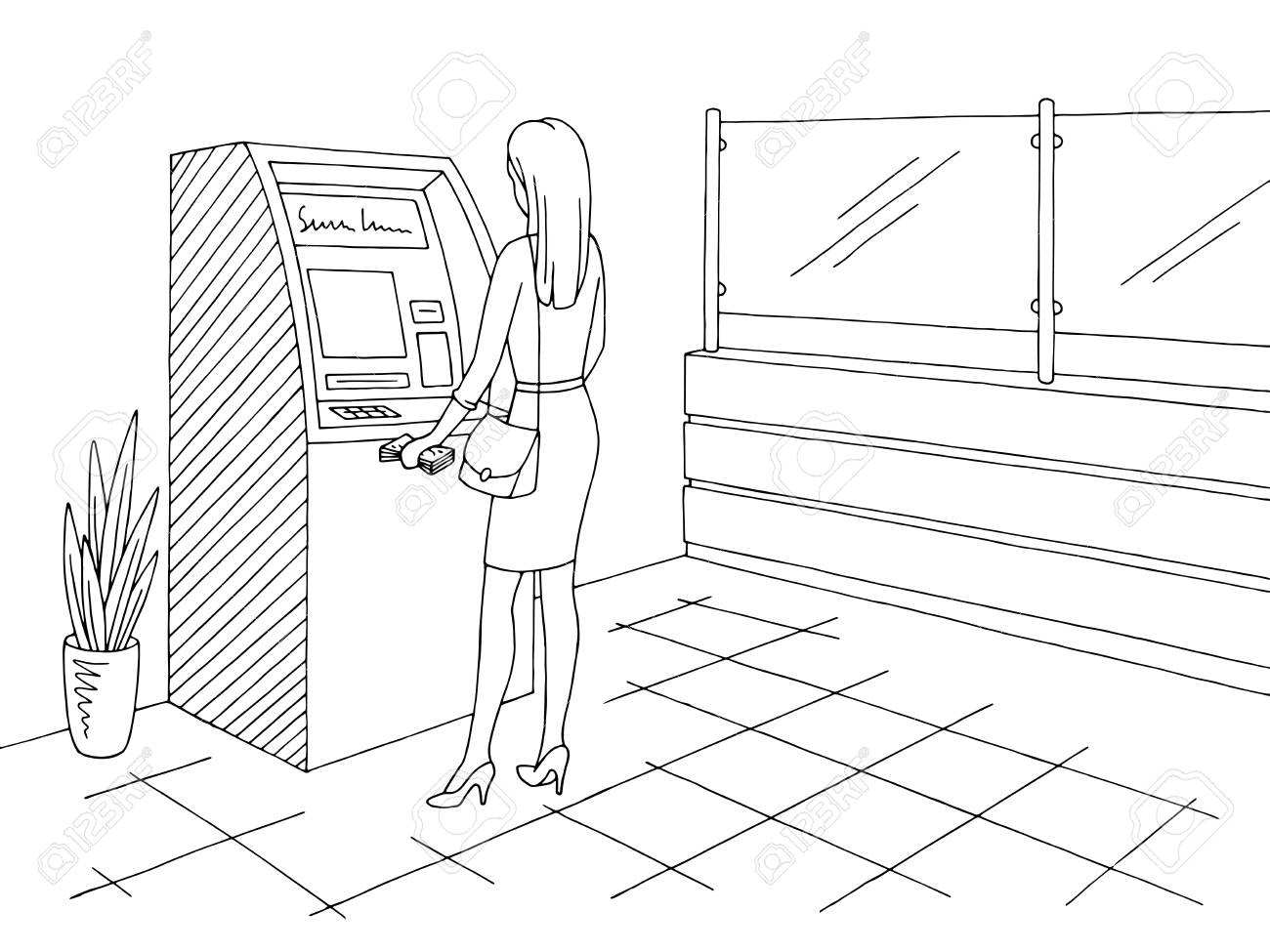 Bank interior graphic black white sketch illustration vector.