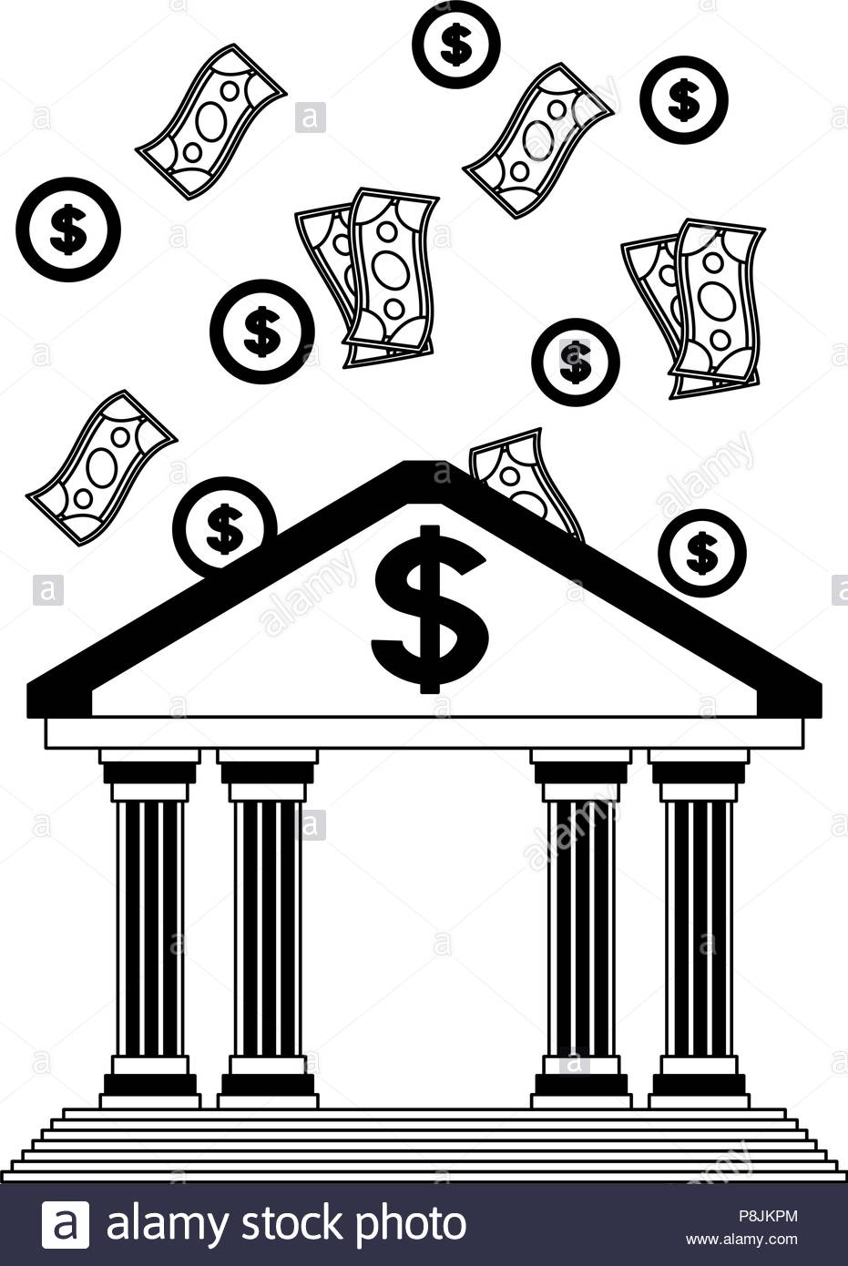 Money falling to bank building black and white Stock Vector Art.
