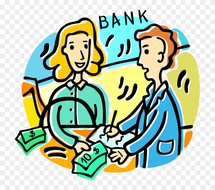 Vector Illustration Of Bank Teller And Customer Withdrawing.