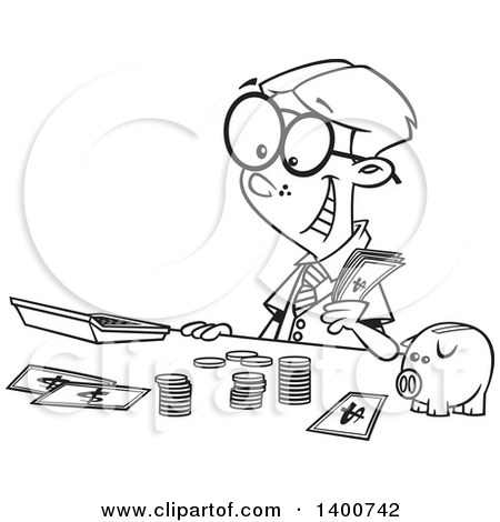 Clipart of a Cartoon Black and White Young Accountant Boy Counting.