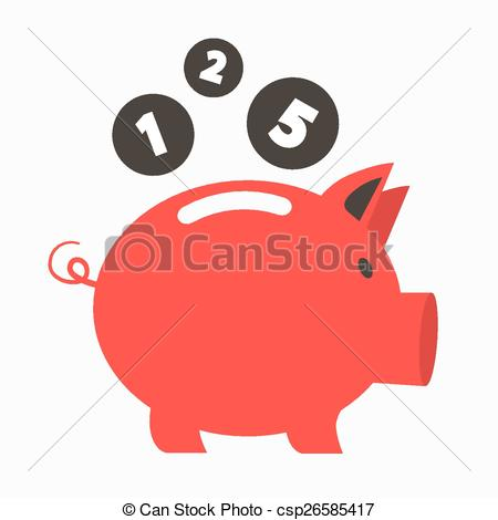 Vector Clip Art of Money Vector Red Pig Bank with Coins.
