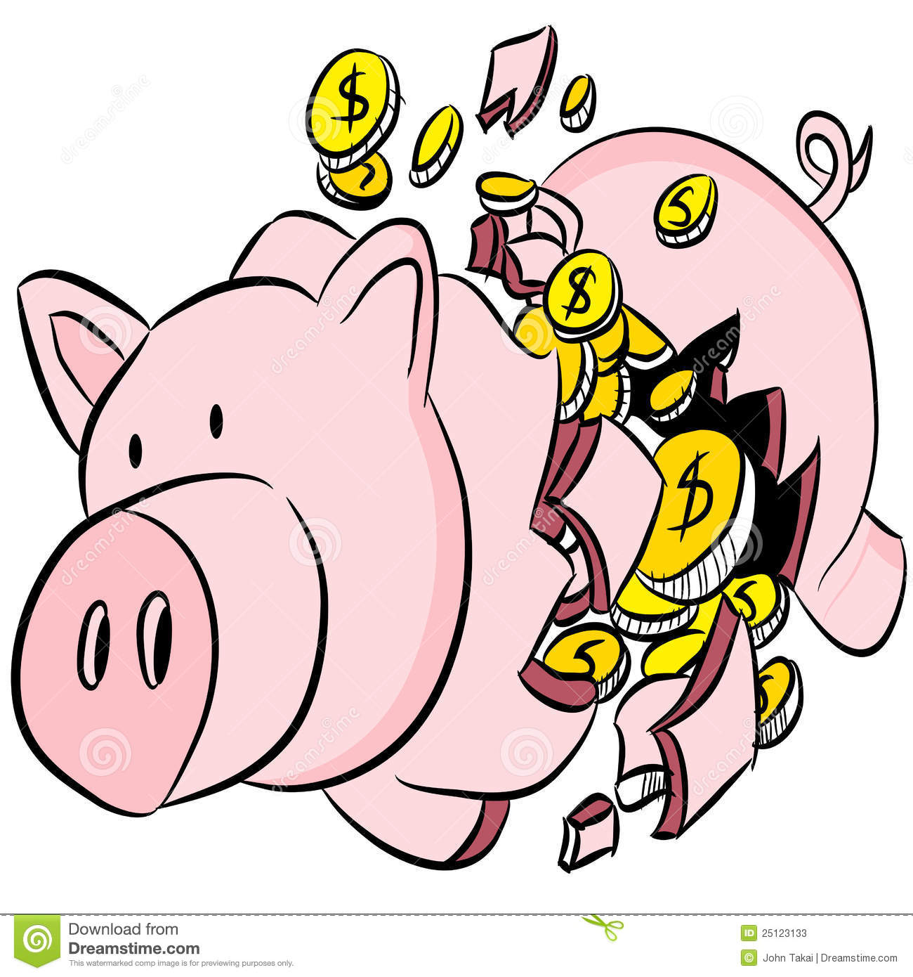 Broken Piggy Bank Stock Photos.