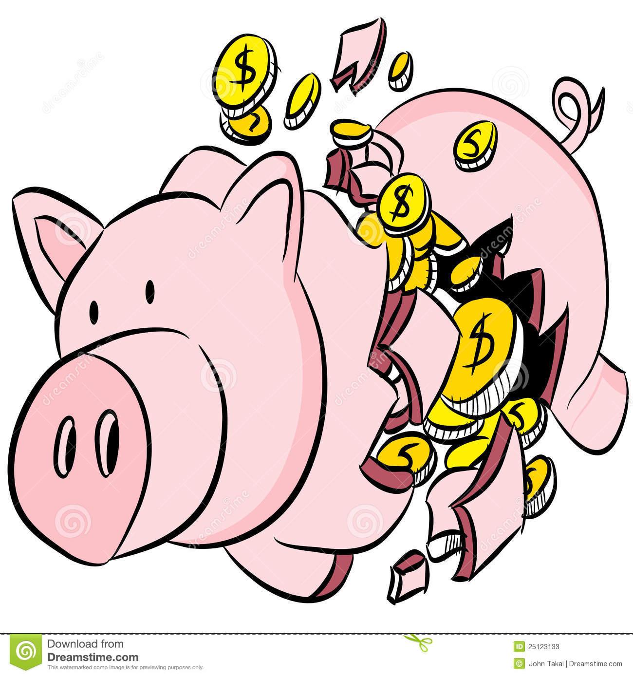 Broken Piggy Bank Stock Photos.