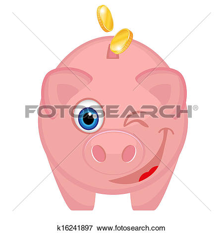 Clip Art of Happy piggy bank with coins k16241897.