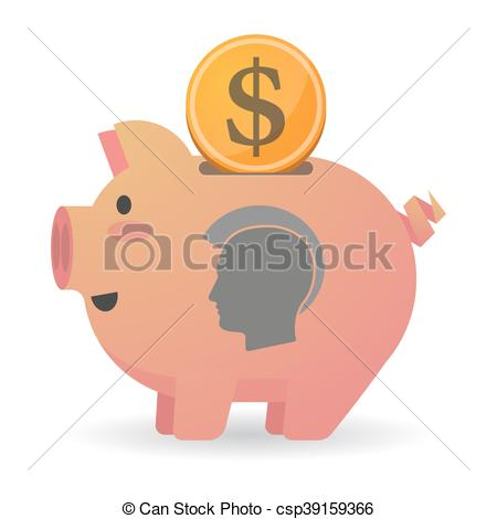 Clip Art Vector of Isolated piggy bank icin with a male punk head.