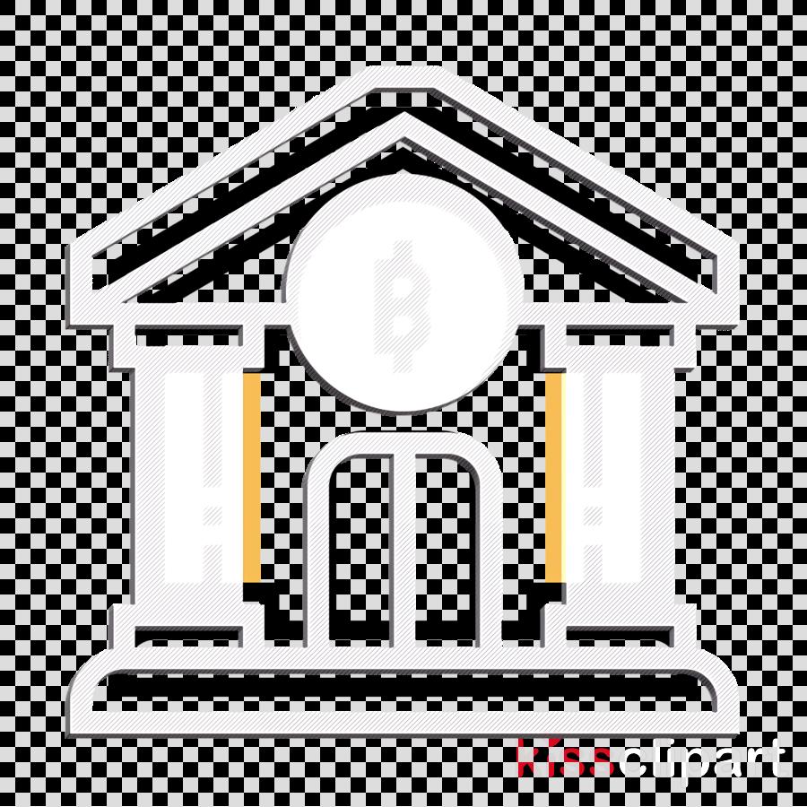 Blockchain icon Bank icon clipart.
