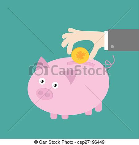 EPS Vector of Hand and piggy bank with four leaf clover coin. Good.