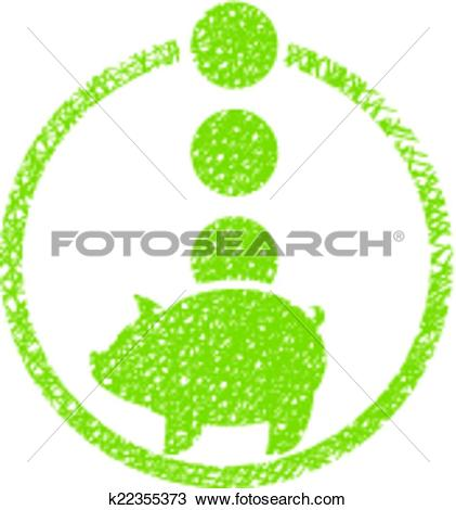 Clipart of Piggy bank money, vector icon with hand drawn lines.