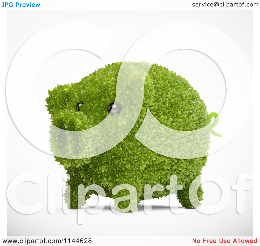 Clipart of a 3d Green Leafy Piggy Bank.
