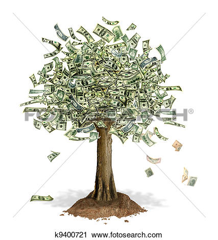 Clipart of Money Tree with US Dollar bank notes in place of leaves.