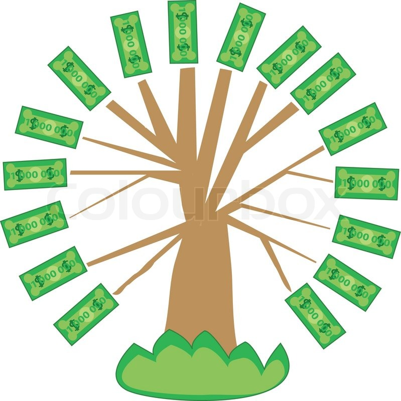 Tree with leaves of bank notes.