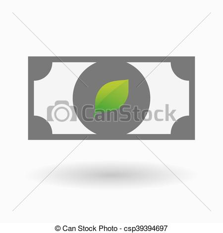 EPS Vectors of Isolated bank note icon with a green leaf.