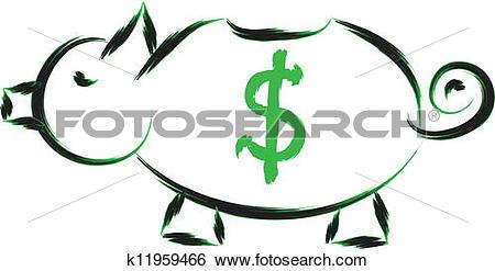 Clip Art of pig bank k11959466.