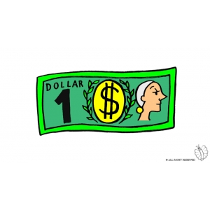 Coloring Page of Dollar Bank note Clipart colored for kids.
