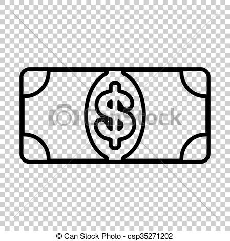 Vector Clipart of Bank Note dollar sign. Line icon on transparent.