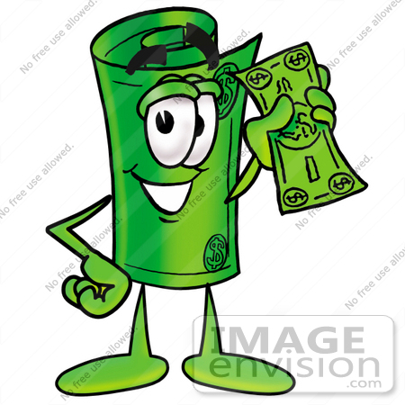 Clip Art Graphic of a Rolled Greenback Dollar Bill Banknote.