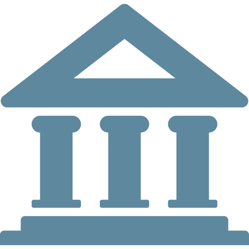 Bank, building, business, deposit, economy, finance, investment icon.