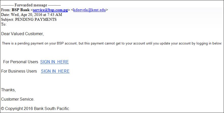 Beware of Phishing.