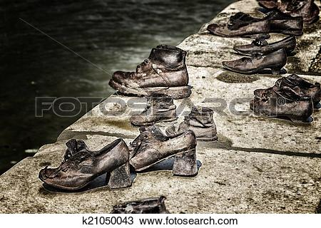 Stock Photo of Shoes on the Danube Bank in Budapest k21050043.