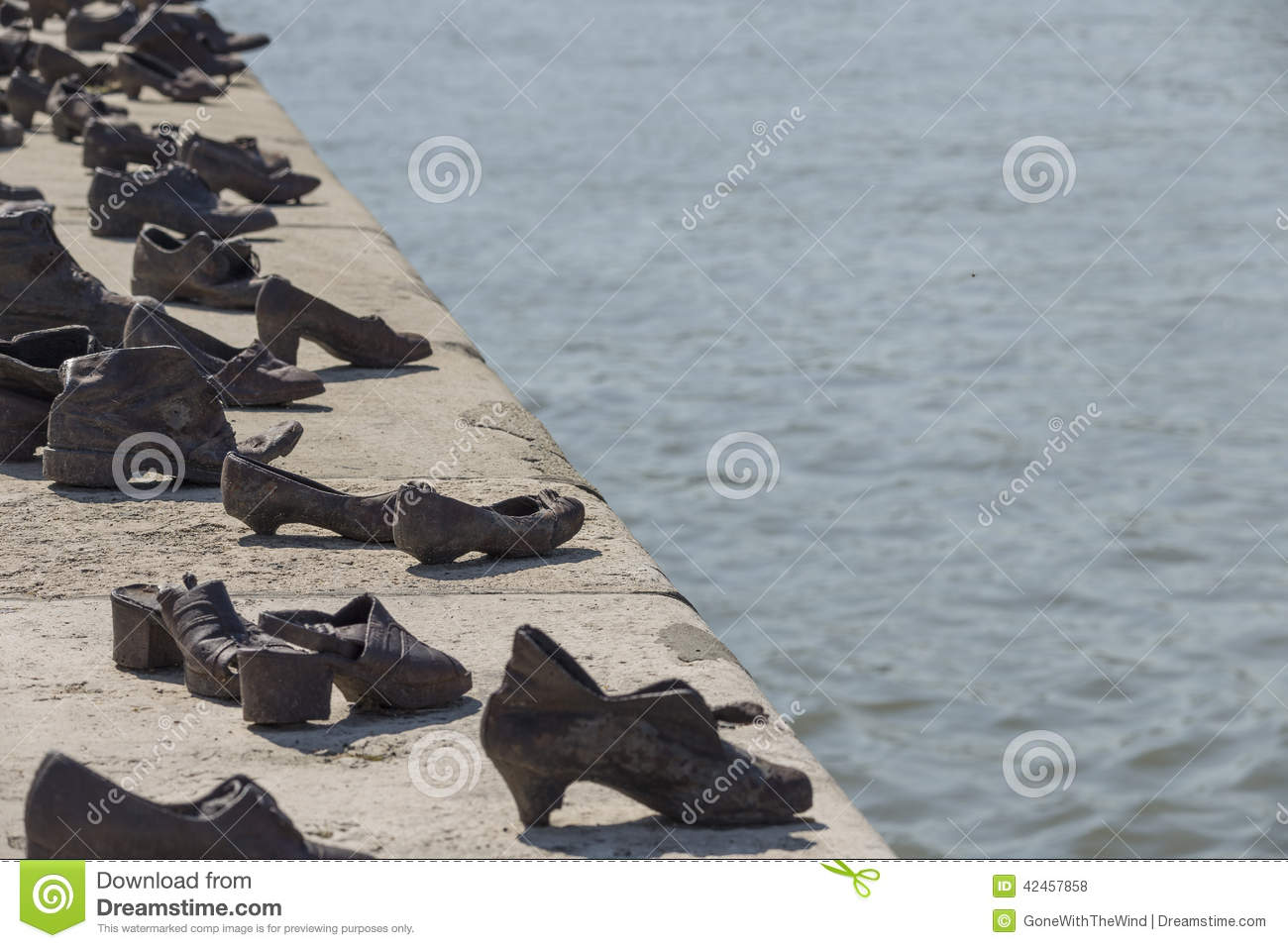 Shoes On The Danube Bank In Budapest Stock Photo.