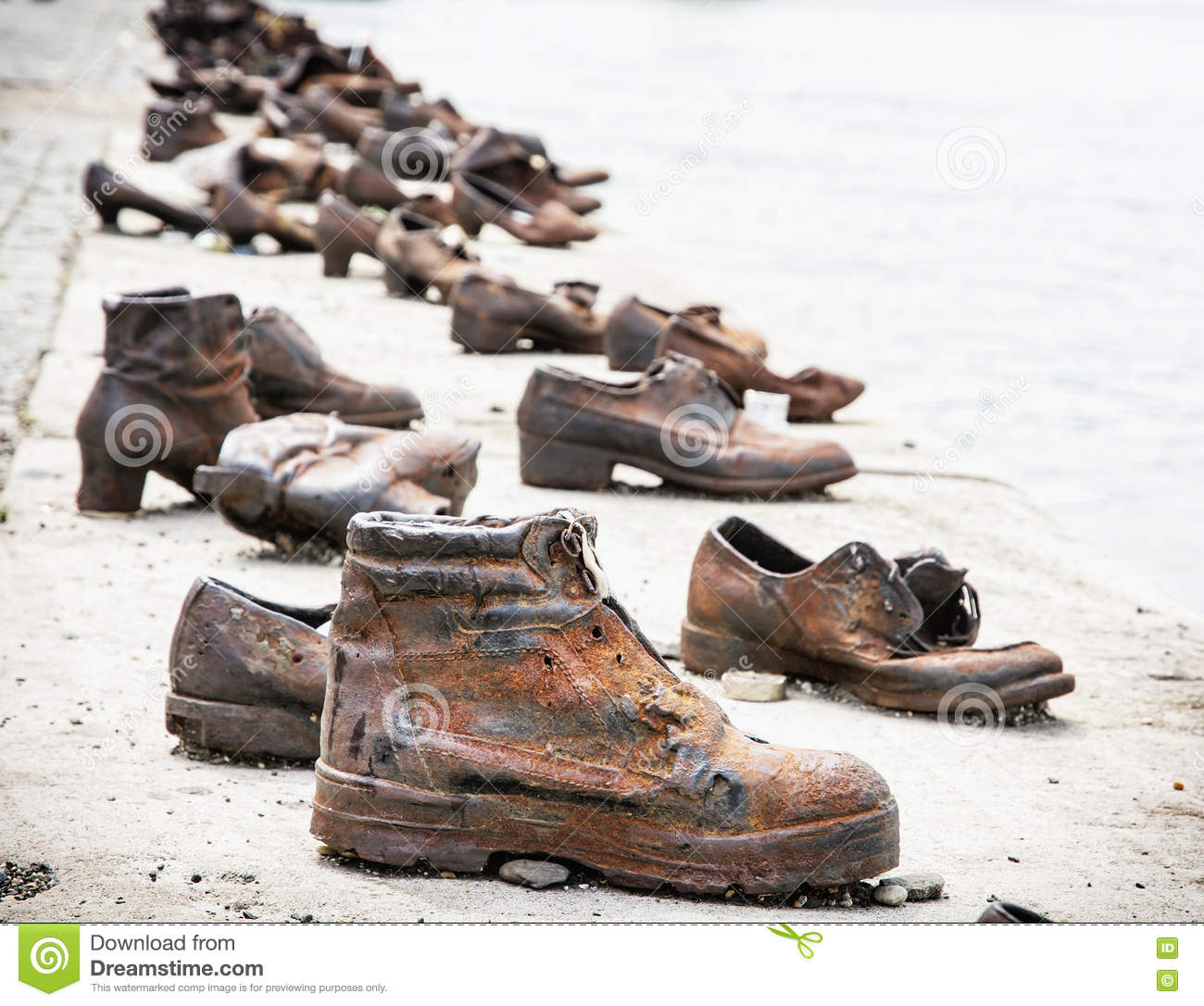 Shoes On The Danube Bank Is A Memorial In Budapest, Hungary Stock.