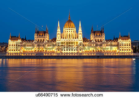 Stock Image of Hungary, Central Hungary, Budapest. A dusk view of.