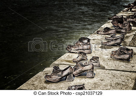 Stock Photo of Shoes on the Danube Bank in Budapest.
