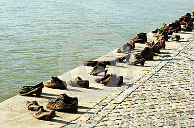 Shoes On The Danube Bank In Budapest, Hungary Editorial Stock.