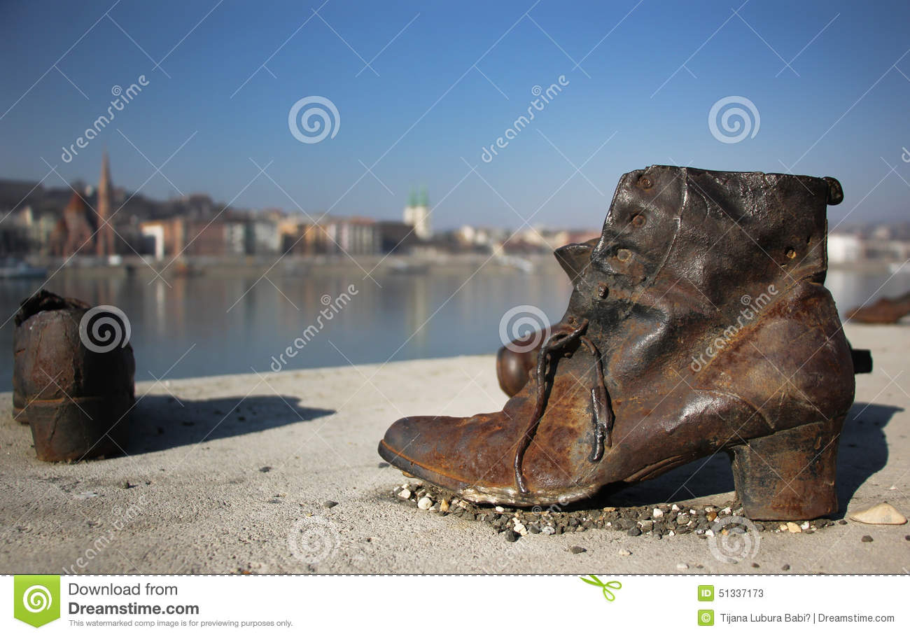 Shoes On The Danube Bank Monument In Budapest Stock Photo.