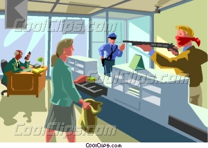 armed robbery of a bank Vector Clip art.
