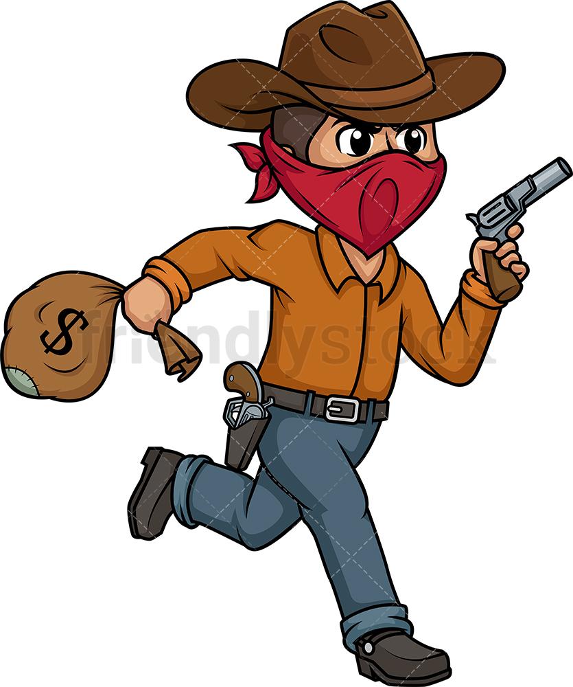 Wild West Thief Running Away.