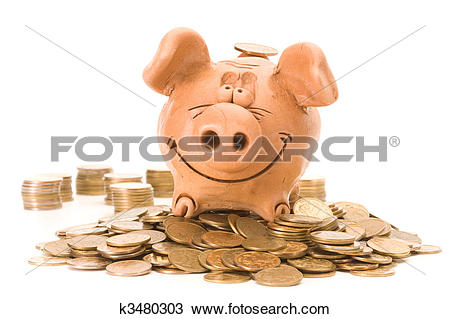 Stock Photo of Pig bank seat on a heap of coins k3480303.