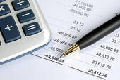 Stock Image of Check the bank statement and balance the account.