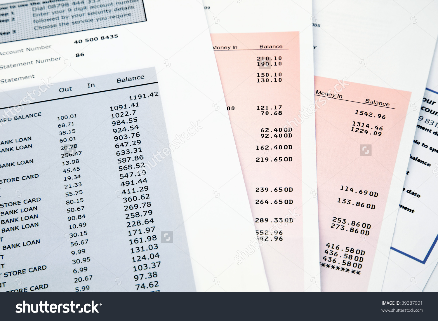 Pile Bank Statement Credit Card Statements Stock Photo 39387901.