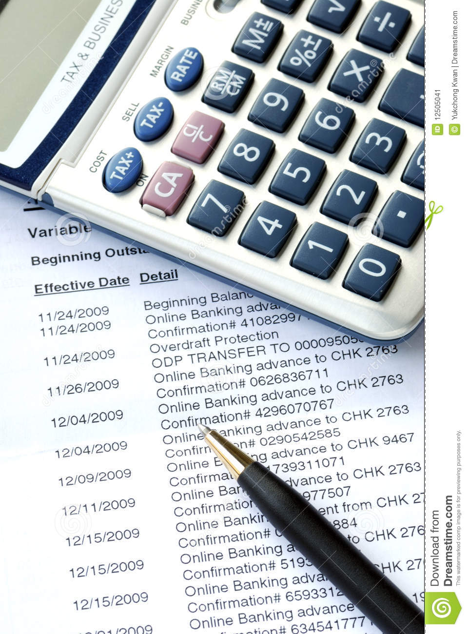 Check The Monthly Bank Account Statement Stock Image.