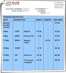 Bankruptcy and bank statements.