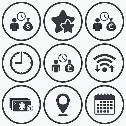 Bank loans icons. Cash money symbols. Clipart Image.