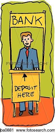 Clipart of bank teller jba0881.