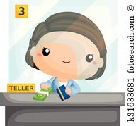 Bank teller Clipart Royalty Free. 436 bank teller clip art vector.
