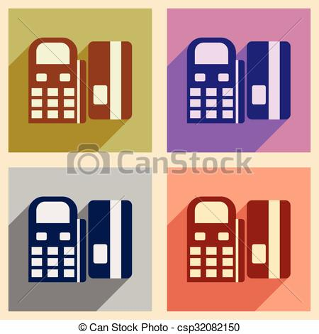 Clipart Vector of Modern collection flat icons with shadow bank.