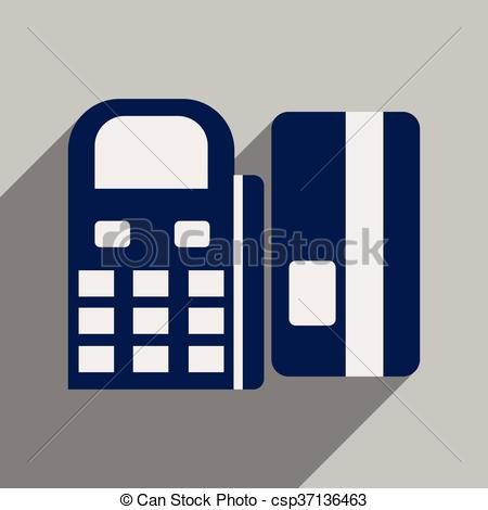 Clip Art Vector of Modern flat icon with shadow bank card and the.