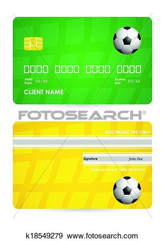 Clip Art of bank card with a special soccer ball design, vector.