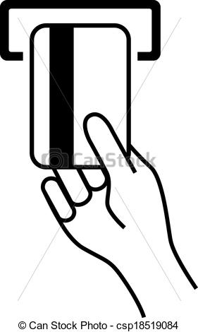 Vector of Hand with bank card isolated on white csp18519084.