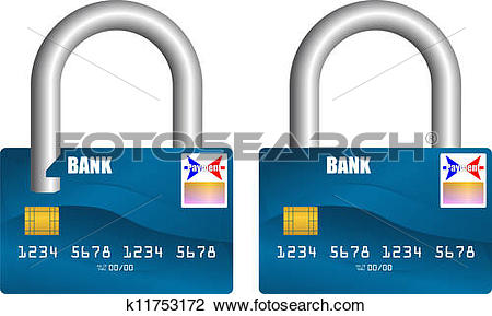 Clipart of bank card unlocked and locked k11753172.