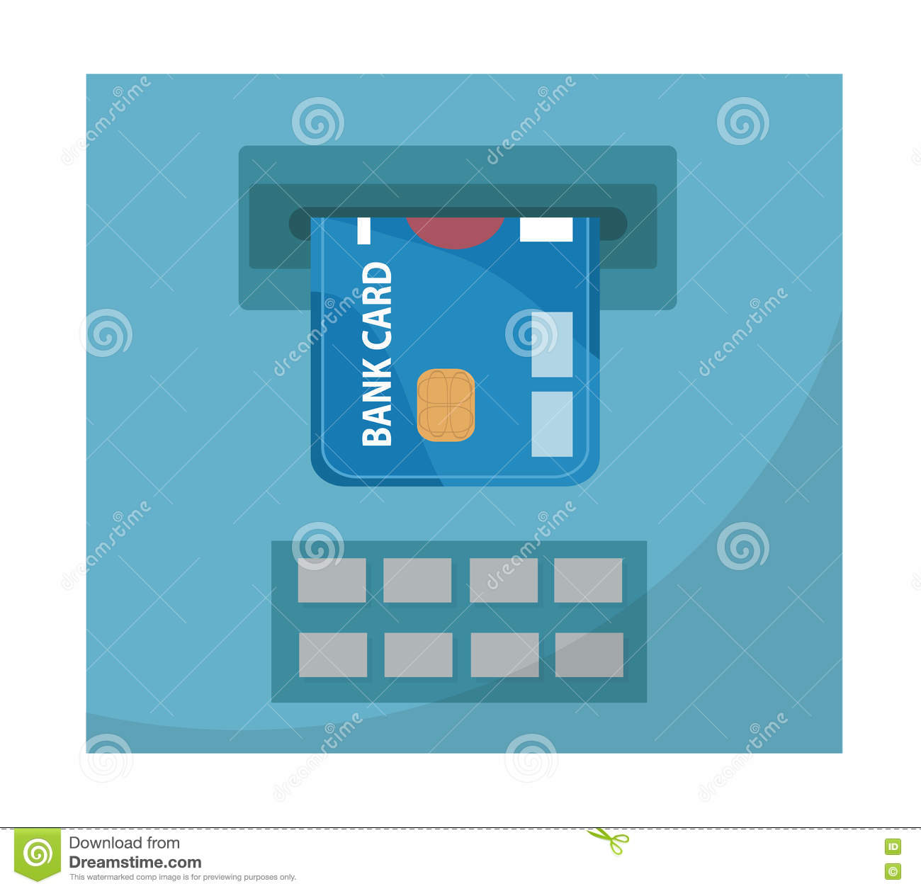 ATM With A Bank Card Icon, Flat Design, Isolated On White.