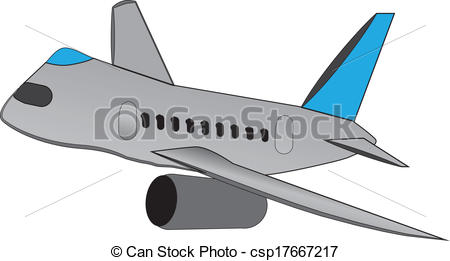 Vector Clip Art of cartoon airliner.